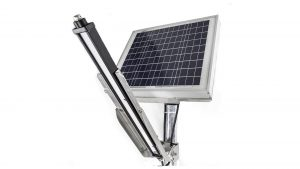 Nemalux Solar GS turnkey, ready-to-install remote solar powered lighting package, includes GS2-DC linear DC LED luminaire, pole, JB housing charge regulator and battery, all pre-wired