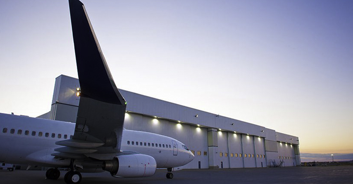 Nemalux industrial LED luminaires are used for high bay illumination both inside and outside airport hangar buildings