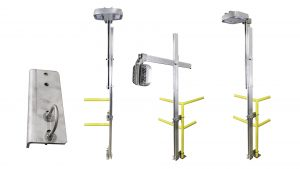 Nemalux ARTSU Articulating Strut lighting pole assembly with optional MR hazardous location class I div 2 (c1d2) luminaire and handrail Clamp mounting option