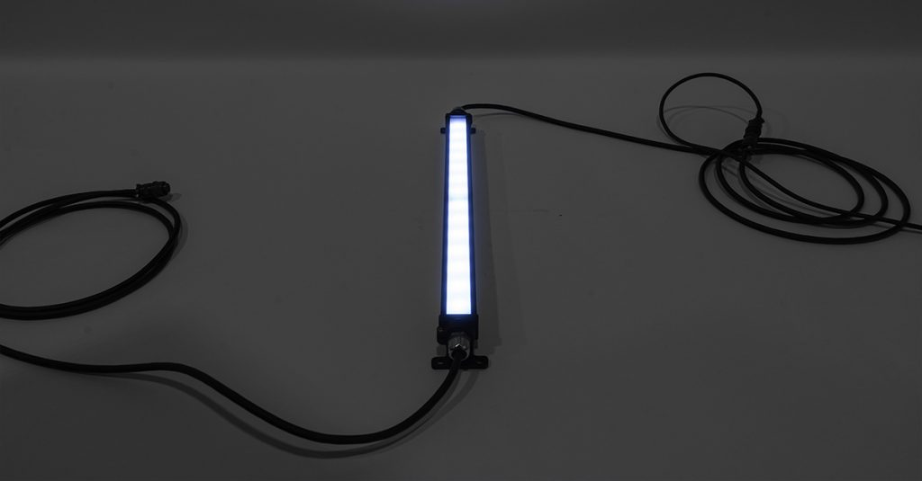 Nemalux blue GS-2 linear luminaire, 24VDC, extremely long lifetime 100,000 hours plus, flicker free linear drivers for machine vision and military applications, IP66/67, marine, Dark Sky and hazardous location certified (class I, div 2 / c1d2)