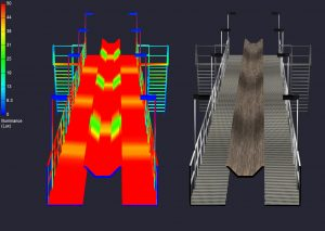multi-optical pattern Nemalux industrial luminaires such as the MR series can significant reduce the cost of industrial walkway and conveyor belt lighting. By choosing the correct optical profile, distance between luminaires can be increased significantly, reducing the number of luminaires required to illuminate the walkway or conveyor belt