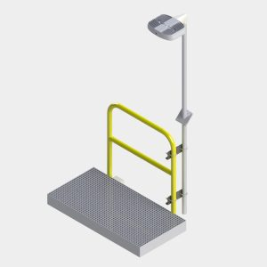 normal operating position of Nemalux Swivel Pole Assembly MR6 - includes MR Series industrial LED luminaire, HID replacement area light, hazardous location, class I division 2 (c1d2), marine (UL 1598), Dark Sky and DLC certified