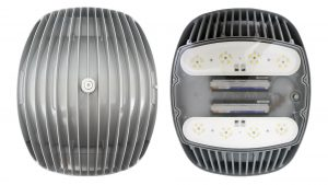 Face down and face up view of Nemalux AR Series industrial, high lumens, high bay LED luminaire for area lighting - hazardous location class I division 2 (c1d2), marine (UL 1598), Foodsafe (NSF), Dark Sky (IDA) and DLC approved