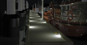 Lighting layout simulation of Nemalux Bullrail-GS-2 linear industrial LED luminaire mounting on dock bullrail - marine and hazardous location class I div 2 (c1d2) certified