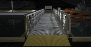 Lighting layout simulation of Nemalux Bullrail-GS-2 linear industrial LED luminaire mounted underneath handrail of marine, dock and wharf walkway, marine and hazardous location class I div 2 (c1d2) certified