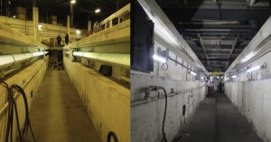Nemalux GS Series Linear LED Luminaire, before and after installation in vehicle maintenance pit, with low profile, low voltage DC or AC, IP66/67 rating, class I div 2 (c1d2) and daisy-chain wiring