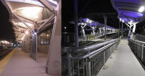 Transit station lighting before and after installation of Nemalux GS Series Linear LED Luminaire - low profile, low voltage DC or AC, IP66/67 rating, class I div 2 (c1d2) and daisy-chain wiring