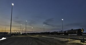 Railyard lighting with Nemalux RS Series extreme vibration, industrial LED luminaire, with marine, IP66 and hazardous location class I div 2 (c1d2) certifications