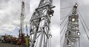 Oil & Gas drilling rig light tower area lighting with Nemalux RS Series extreme vibration, industrial LED luminaire, with marine, IP66 and hazardous location class I div 2 (c1d2) certifications