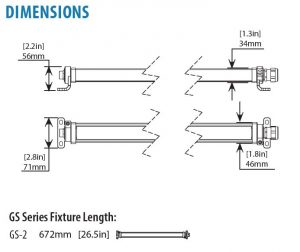 Dimensional drawing of Nemalux GS Series Linear LED Luminaire
