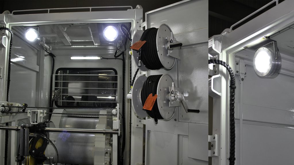 Hazardous location class I div 2 (c1d2) certified Nemalux XCAN-DC Series industrial LED luminaire installed in interior of mobile truck