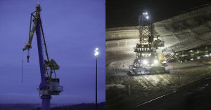 open pit mine light tower application using Nemalux ZLM series modular, compact, high lumens industrial LED luminaire, IP66 and marine rated, 28K lumens per module, 112K lumens for quad configuration