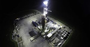 drilling rig light tower application using Nemalux ZLM series modular, compact, high lumens industrial LED luminaire, IP66 and marine rated. 28K lumens per module, 112K lumens for quad configuration