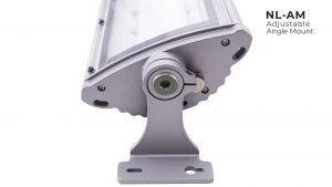 Adjustable angle mount for Nemalux NL series linear industrial LED luminaire, IP66, marine and hazardous location class I div 2 (c1d2) approved and replacement for linear fluorescent light fixtures