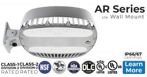 Nemalux AR Series industrial, high lumens, high bay LED luminaire for area lighting - hazardous location class I division 2 (c1d2), marine (UL 1598), Foodsafe (NSF), Dark Sky (IDA) and DLC approved c/w wall mount (AR-WM)