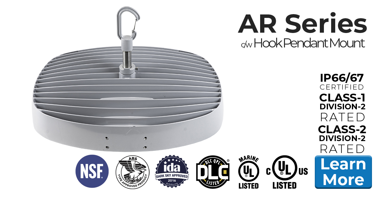Nemalux AR Series industrial, high lumens, high bay LED luminaire for area lighting - hazardous location class I division 2 (c1d2), marine (UL 1598), Foodsafe (NSF), Dark Sky (IDA) and DLC approved c/w hook pendant mount (AR-HK)