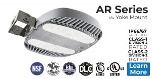 Nemalux AR Series industrial, high lumens, high bay LED luminaire for area lighting - hazardous location class I division 2 (c1d2), marine (UL 1598), Foodsafe (NSF), Dark Sky (IDA) and DLC approved c/w yoke mount (AR-YM)