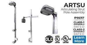 ARTSU articulating, telescopic strut lighting pole assembly eliminates ladders, scaffolding and lifts. Add optional MR industrial, hazardous location approved LED luminaire for turnkey, ready-to-install lighting package