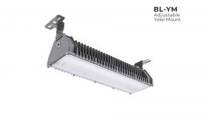 Yoke mount Nemalux BL series linear industrial LED luminaire, marine and hazardous location class I div 2 (c1d2) approved and replacement for vapour tight fluorescent light