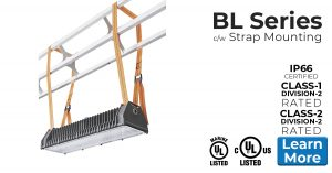 Strap mount Nemalux BL series linear industrial LED luminaire, marine and hazardous location class I div 2 (c1d2) approved and replacement for vapour tight fluorescent light