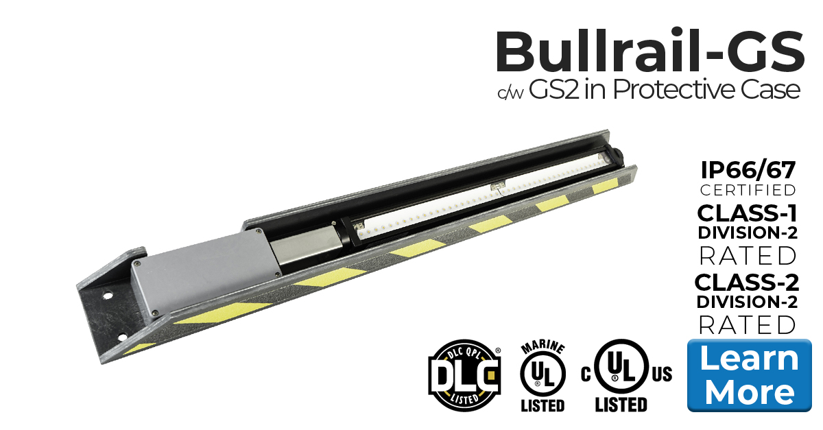 Nemalux Bullrail GS Series of Industrial Low Profile, DC Linear LED Luminaires, approved for marine and hazardous locations - class I div 2 (c1d2)