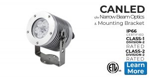 Nemalux CANLED industrial LED luminaire, IP66 and hazardous location class I div 2 (c1d2) rated. Narrow beam model with mounting bracket