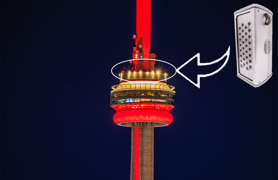 Toronto CN Tower project specified Nemalux ZLM high lumens, extreme vibration resistant, IP66 rated luminaires due to extreme rain, hail, wind loads and requirement for low maintenance and long lifetime