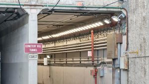 Transit rail tunnel lighting application of Nemalux RS Series extreme vibration, industrial LED luminaire for area lighting, with marine, IP66 and hazardous location class I div 2 (c1d2) certifications