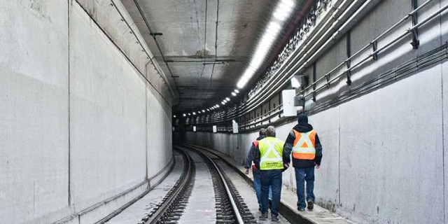 Calgary Light Rapid Transit rail tunnel area lighting project using Nemalux RS Series extreme vibration, industrial LED luminaire, with marine, IP66 and hazardous location class I div 2 (c1d2) certifications