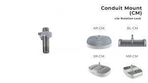 Nemalux Conduit Mount (CM) industrial lighting fixture mounting bracket, with rotation lock for models AR, MR, XR and BL