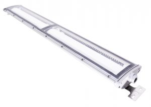 4 foot model of Nemalux NL series linear industrial LED luminaire, IP66, marine and hazardous location class I div 2 (c1d2) approved and replacement for linear fluorescent light fixtures