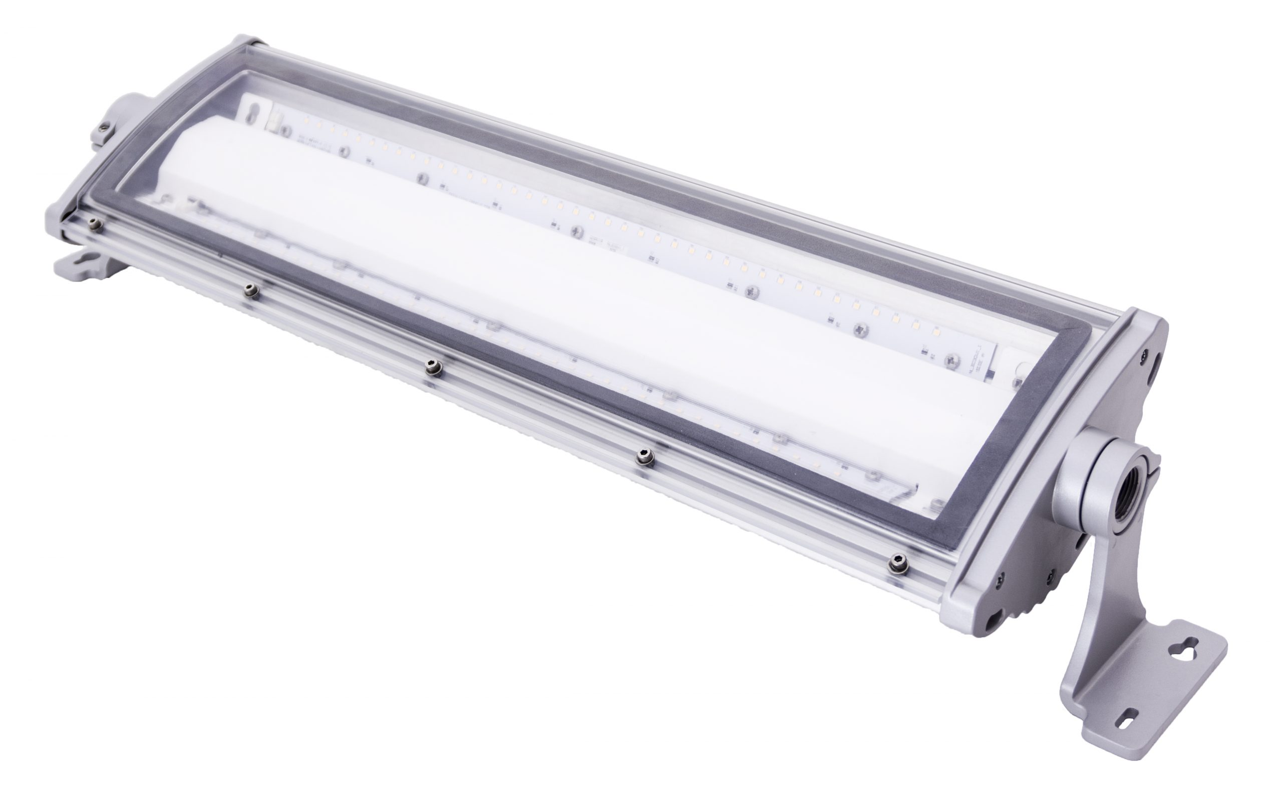 Adjustable angle mount Nemalux NL series linear industrial LED luminaire, IP66, marine and hazardous location class I div 2 (c1d2) approved and replacement for linear fluorescent light fixtures