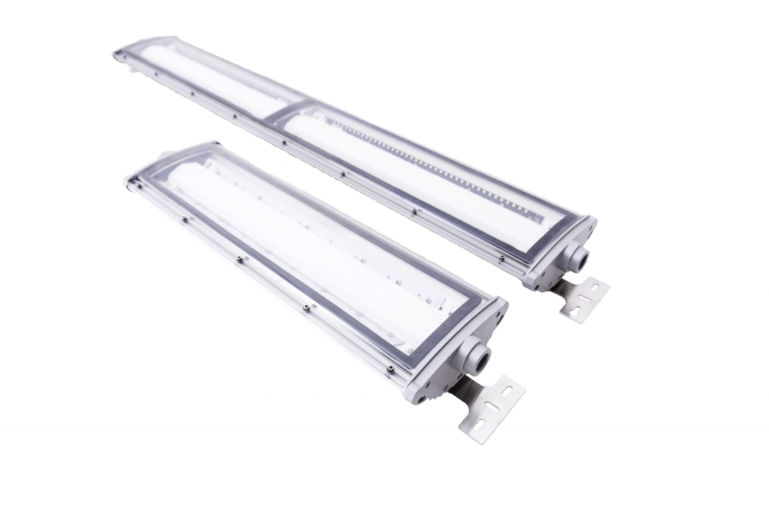 2 and 4 foot models of Nemalux NL series linear industrial LED luminaire, IP66, marine and hazardous location class I div 2 (c1d2) approved and replacement for linear fluorescent light fixtures