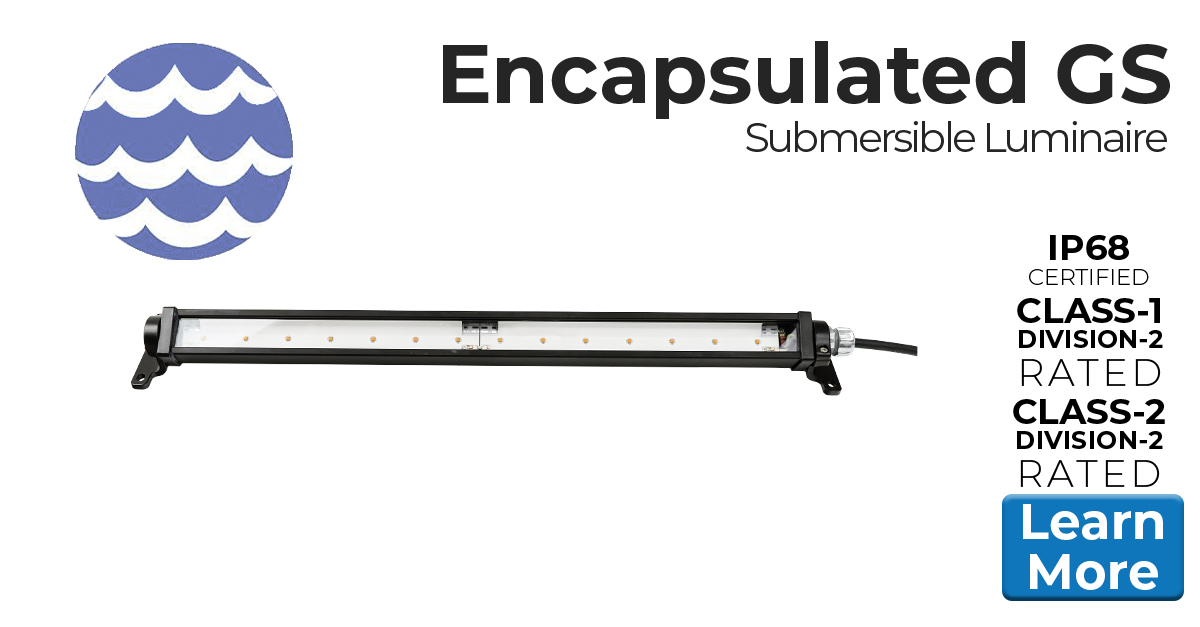 Encapsulated GS Series of Low Profile Industrial LED luminaires for extreme moisture applications, IP68, marine and class I div 2 (c1d2) rated