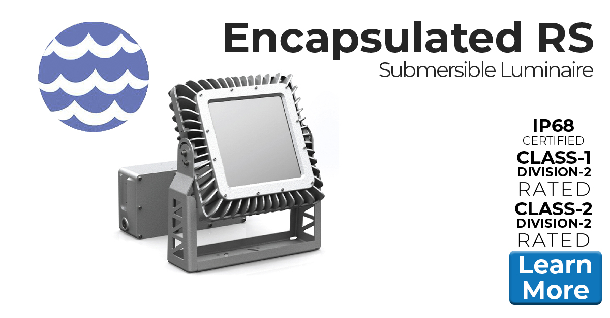 Nemalux Encapsulated RS Series submersible and extreme vibration, industrial LED luminaire, with marine, IP68 and hazardous location class I div 2 (c1d2) certifications