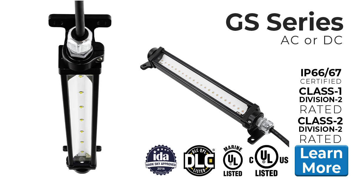 Nemalux GS Series of Low Profile Linear industrial LED luminaires, low voltage DC or AC, marine and hazardous location class I div 2 (c1d2), IP66/67 approved