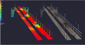 Lighting layout rendering of walkway lighting - Nemalux offers Texas engineering and O+G firms, petrochemical refineries the best cost-performance ratio hazardous location, industrial lighting solutions for walkways, platforms, staircases and ladders