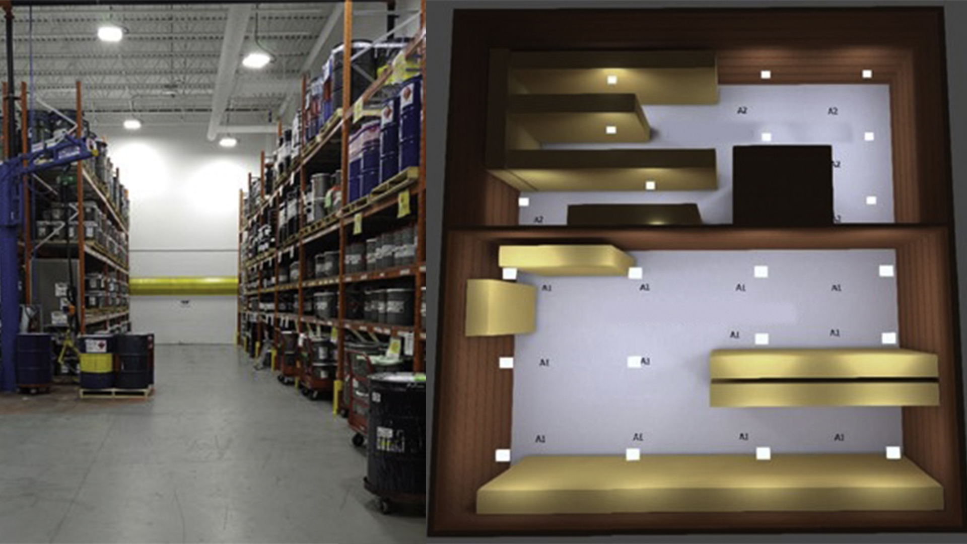 Nemalux Case study - warehouse high bay lighting upgrade with AR Series industrial LED luminaire, including complimentary lighting layout study