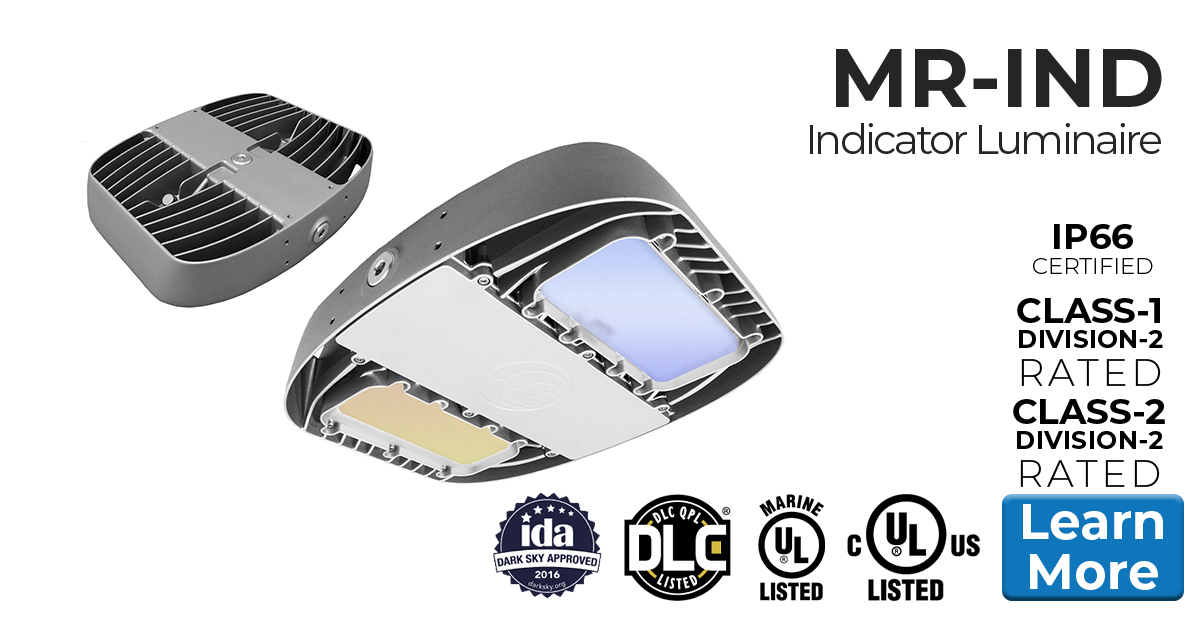Nemalux MR-RGB color changing series industrial LED luminaire with DMX lighting protocol for safety indication HID replacement, certified for hazardous location (class I division 2 / c1d2), marine (UL 1598), Dark Sky and DLC
