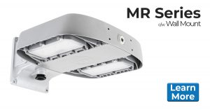 Nemalux MR series industrial LED luminaire, HID replacement, certified for hazardous location (class I division 2 / c1d2), marine (UL 1598), Dark Sky and DLC area lighting c/w wall mount