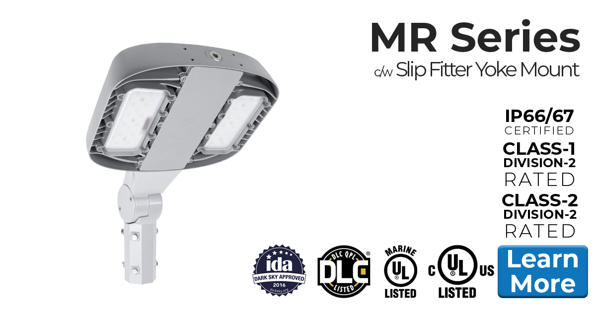 Nemalux MR series industrial LED luminaire, HID replacement, certified for hazardous location (class I division 2 / c1d2), marine (UL 1598), Dark Sky and DLC area lighting c/w slip fitter yoke mount