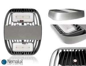 Different details of the Nemalux MR Series industrial LED luminare, with hazardous location Class I Division 2 certification