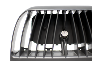 Closeup detail of heat sink of Nemalux MR series industrial LED luminaire, HID replacement, certified for hazardous location (class I division 2 / c1d2), marine (UL 1598), Dark Sky and DLC area lighting