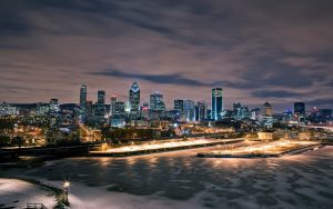 Night time panoramic view of Montreal, Quebec, Canada. Nemalux is represented in the province by Ex-Supply.