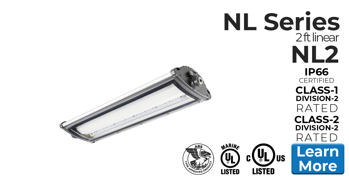 2 foot model of Nemalux NL series linear industrial LED luminaire, IP66, marine and hazardous location class I div 2 (c1d2) approved and replacement for linear fluorescent light fixtures