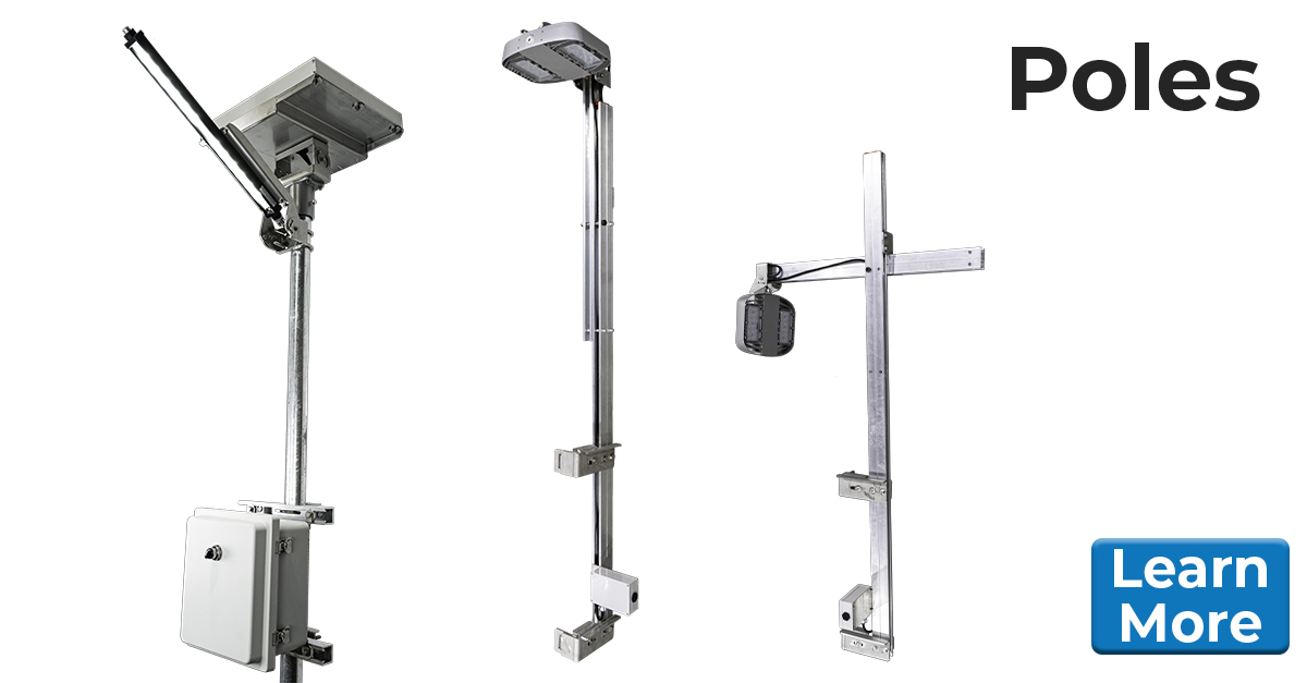 Nemalux offers a variety of industrial grade poles including turnkey pole-mounted, ready-to-install lighting systems such as solar powered or ARTSU