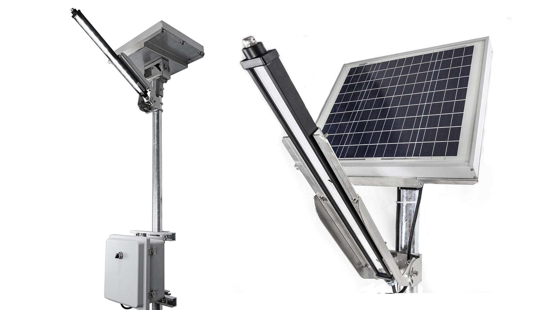 Nemalux Solar GS turnkey, ready-to-install remote solar powered lighting package, includes GS2-DC linear LED luminaire, pole, JB housing charge regulator and battery, all pre-wired