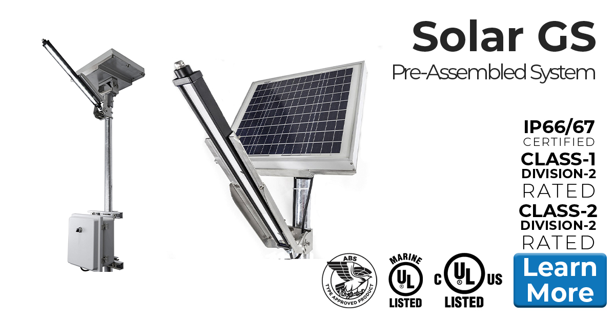 Nemalux Solar GS Turnkey Lighting System - Prewired, ready-to-install, turnkey remote solar powered lighting system including GS-DC linear DC voltage industrial LED luminaire, PV panel, and JB housing battery and charge regulator.