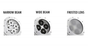 Nemalux XCANLED hazardous location class I div 2 (c1d2) industrial LED luminaire optics options - narrow beam, wide beam and frosted lens