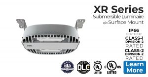 Nemalux XR Series industrial LED luminaire for area lighting - hazardous location (class I division 2, c1d2 ), marine, Dark Sky and DLC approved c/w surface mount bracket